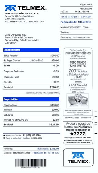 Cómo descargar la factura de Telmex