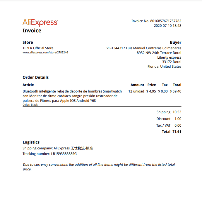 Cómo pedir factura aliexpress online