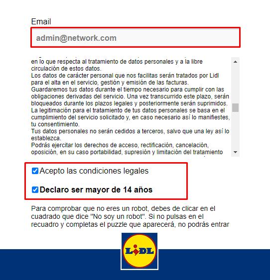 Cómo registrarse en facturación Lidl Online